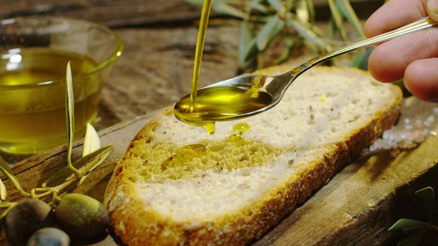 olive oil on bread