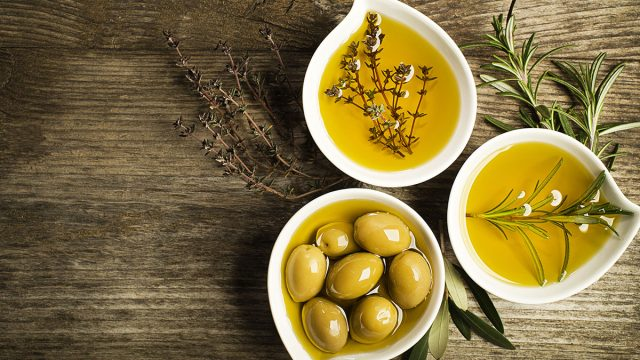 olives herbs and olive oil