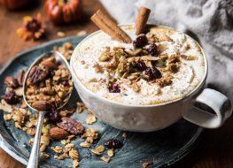 pumpkin spice oatmeal latte