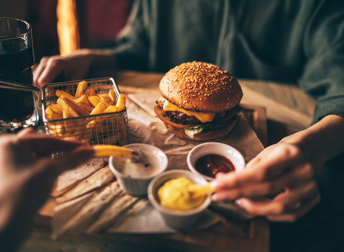 restaurant burger and fries