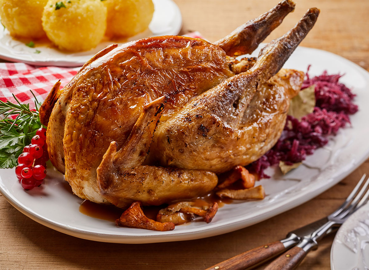 roasted whole pheasant on serving platter