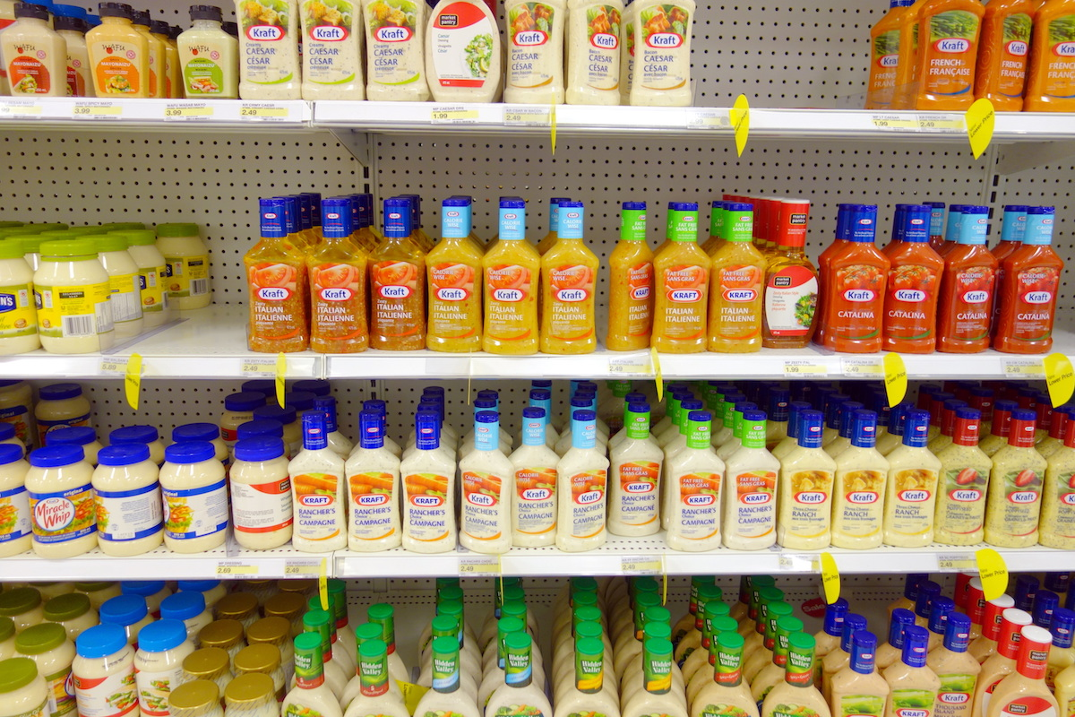 salad dressing aisle in the store