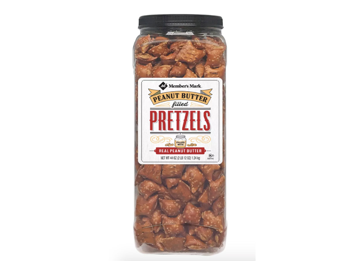 container of sams club peanut butter pretzels