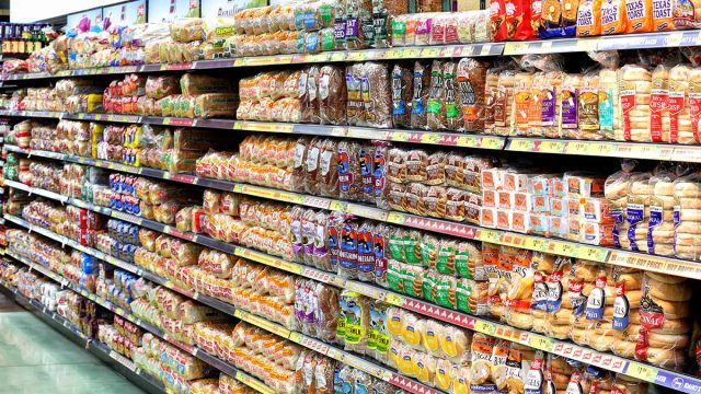 bread aisle of grocery store