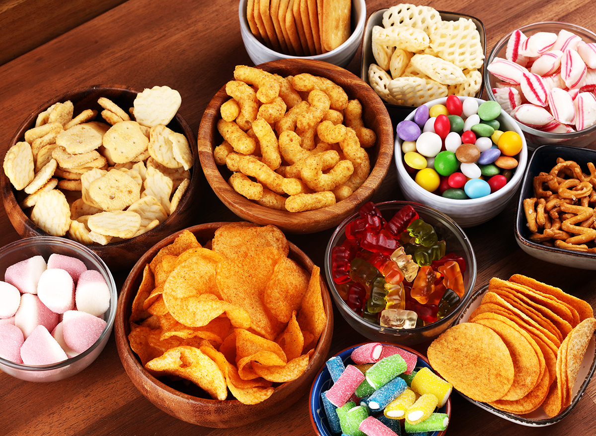 unhealthy snack foods in bowls