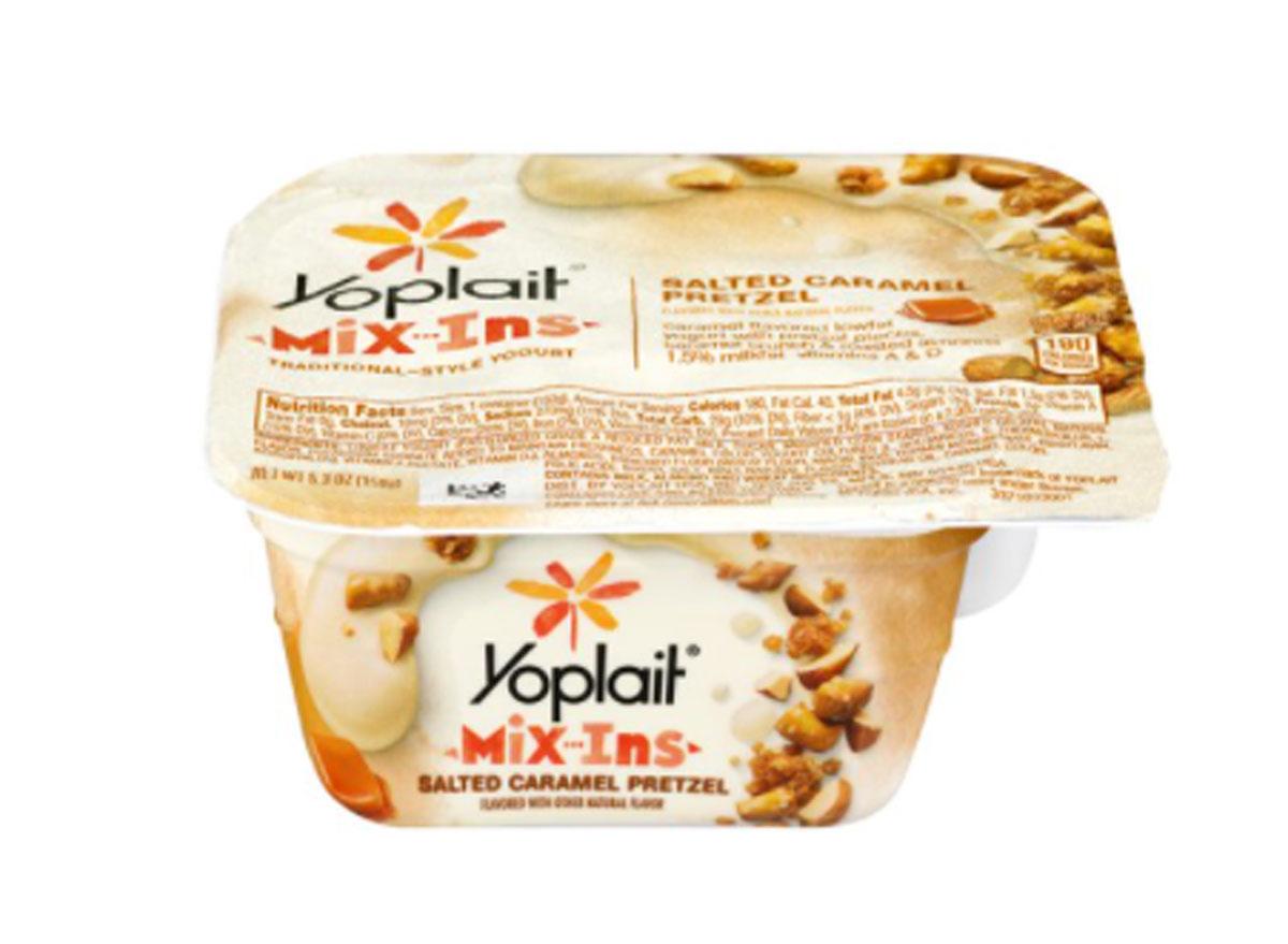 yoplait mix-ins salted caramel pretzel yogurt container