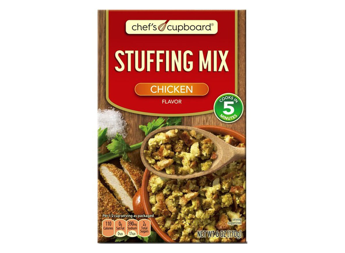 box of chefs cupboard stuffing mix from aldi