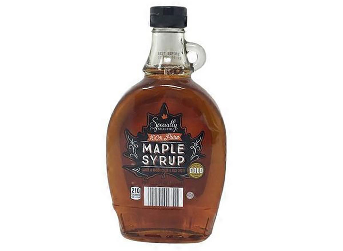 bottle of aldi maple syrup