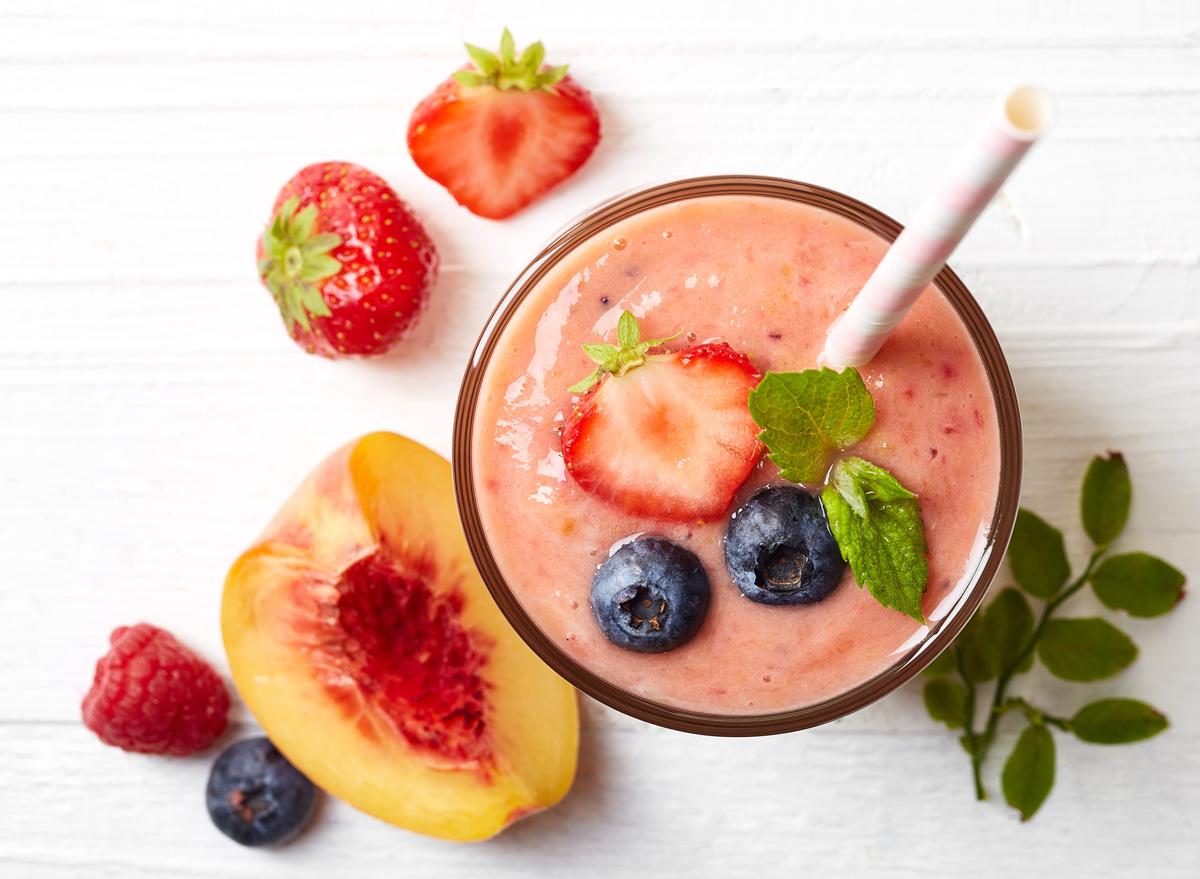 fruit smoothie blueberries strawberries peaches