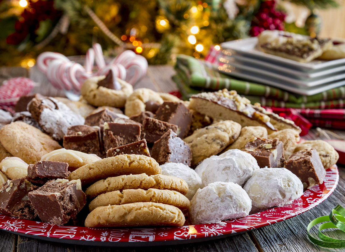 tray of homemade holiday cookies