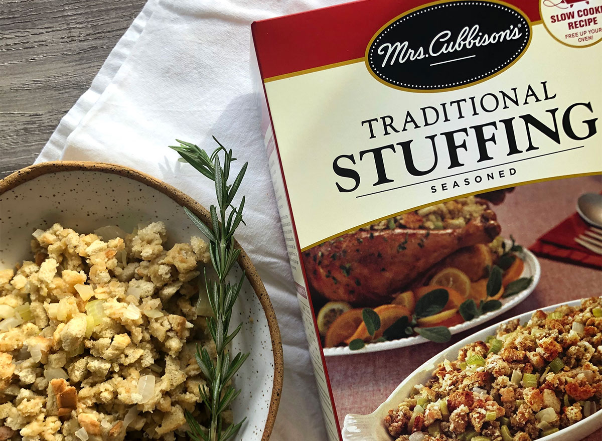 box of mrs cubbisons stuffing with bowl of stuffing