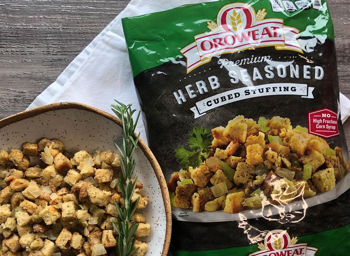 orowheat stuffing mix with bowl of stuffing