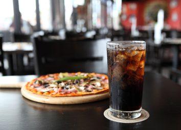 soda and pizza