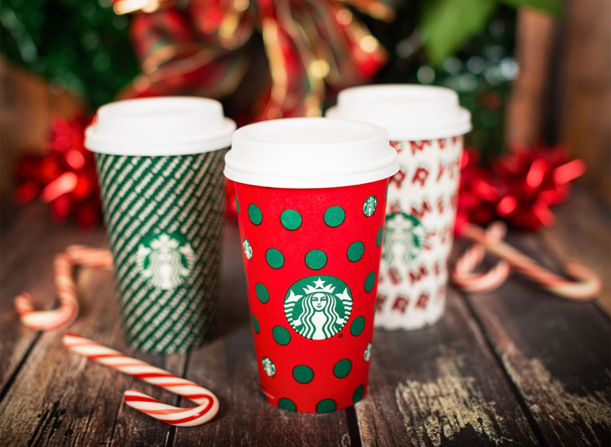 trio of starbucks holiday cups