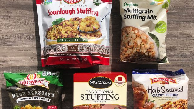 five packages of store bought stuffing