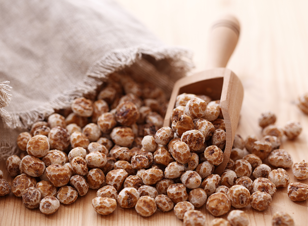 tiger nuts with wooden spoon