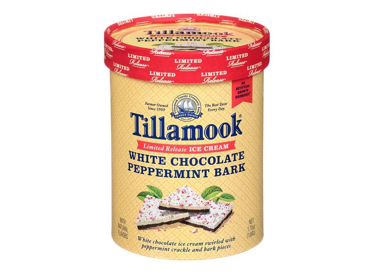 tub of tillamook white chocolate peppermint bark ice cream