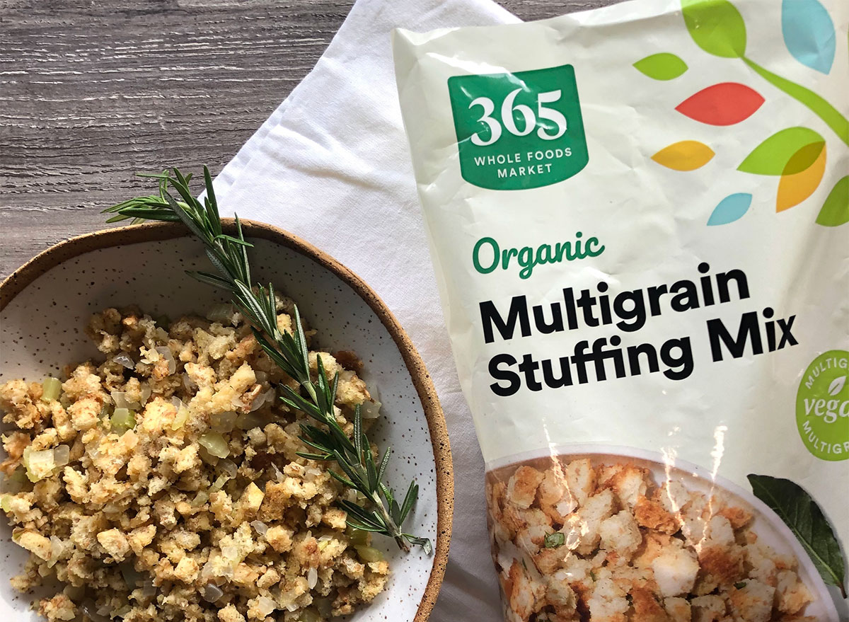 whole foods stuffing package with stuffing bowl