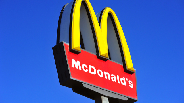 mcdonalds sign on blue sky