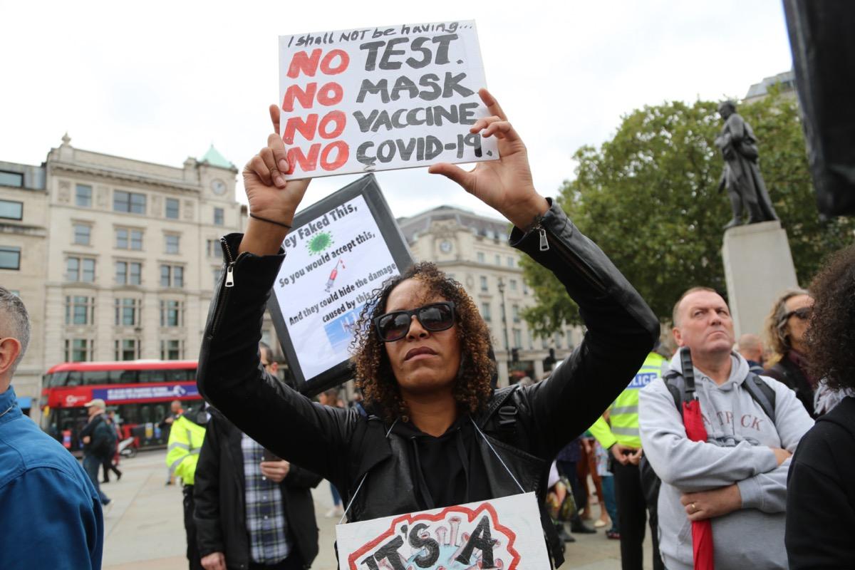 Anti-mask, anti-lockdown and anti-vaccine protesters.