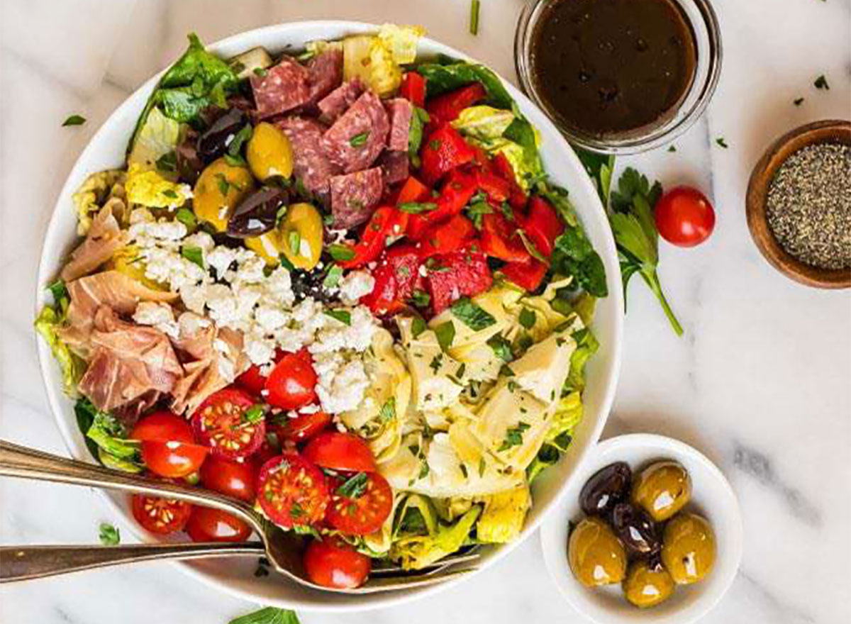 antipasto salad with olives and dressing