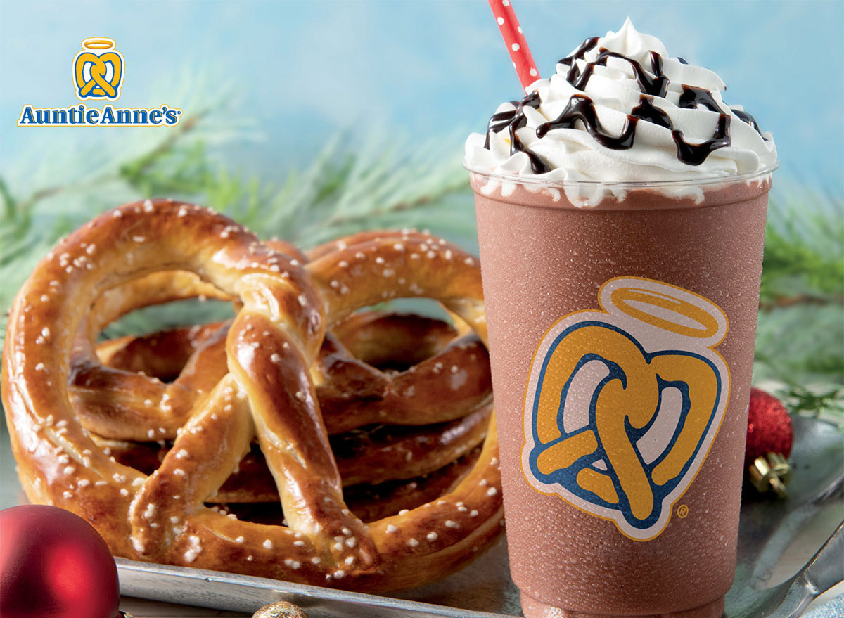 auntie annes hot chocolate frost with pretzel