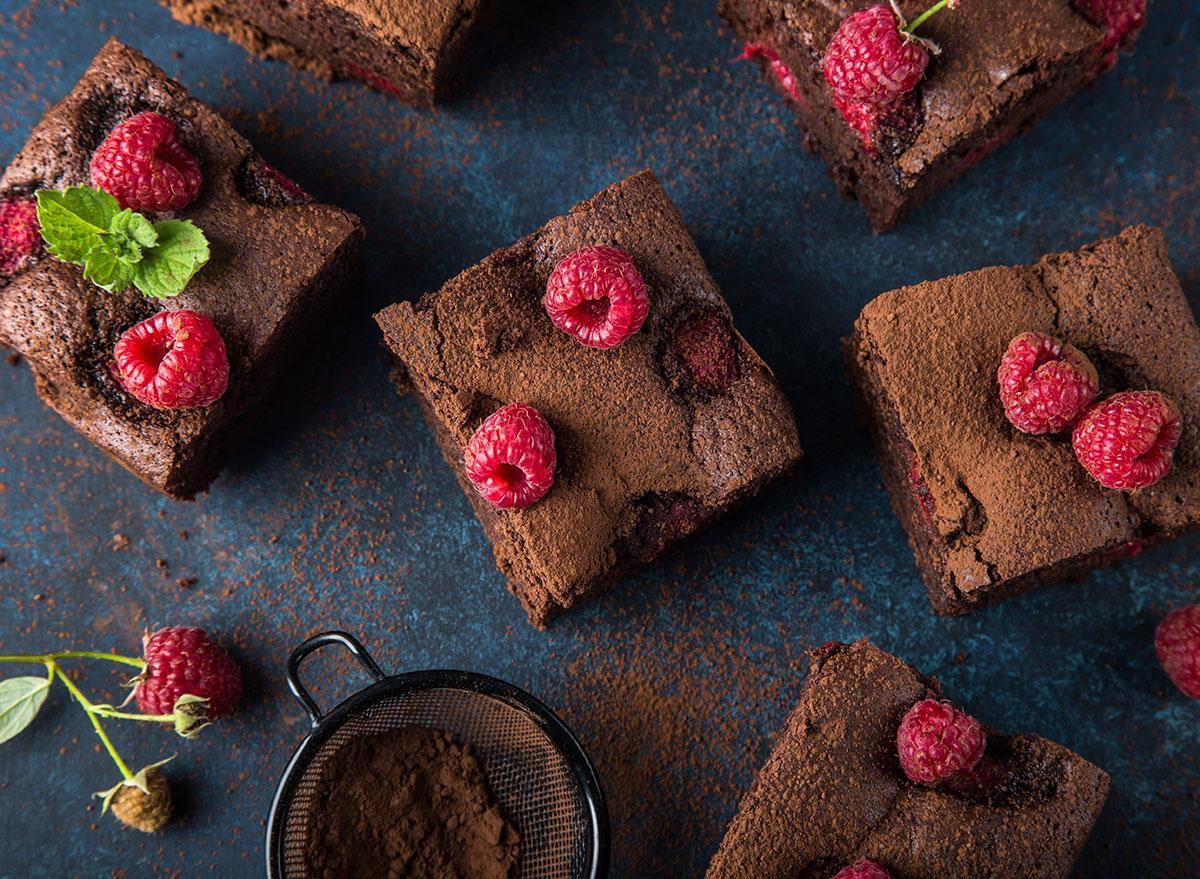 brownies and raspberries