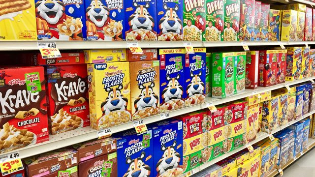 cereal aisle at grocery store