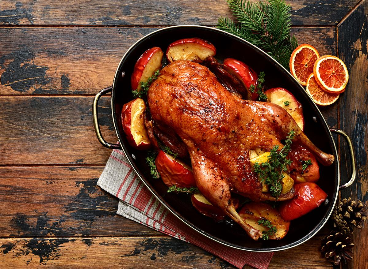 christmas roast goose in pan