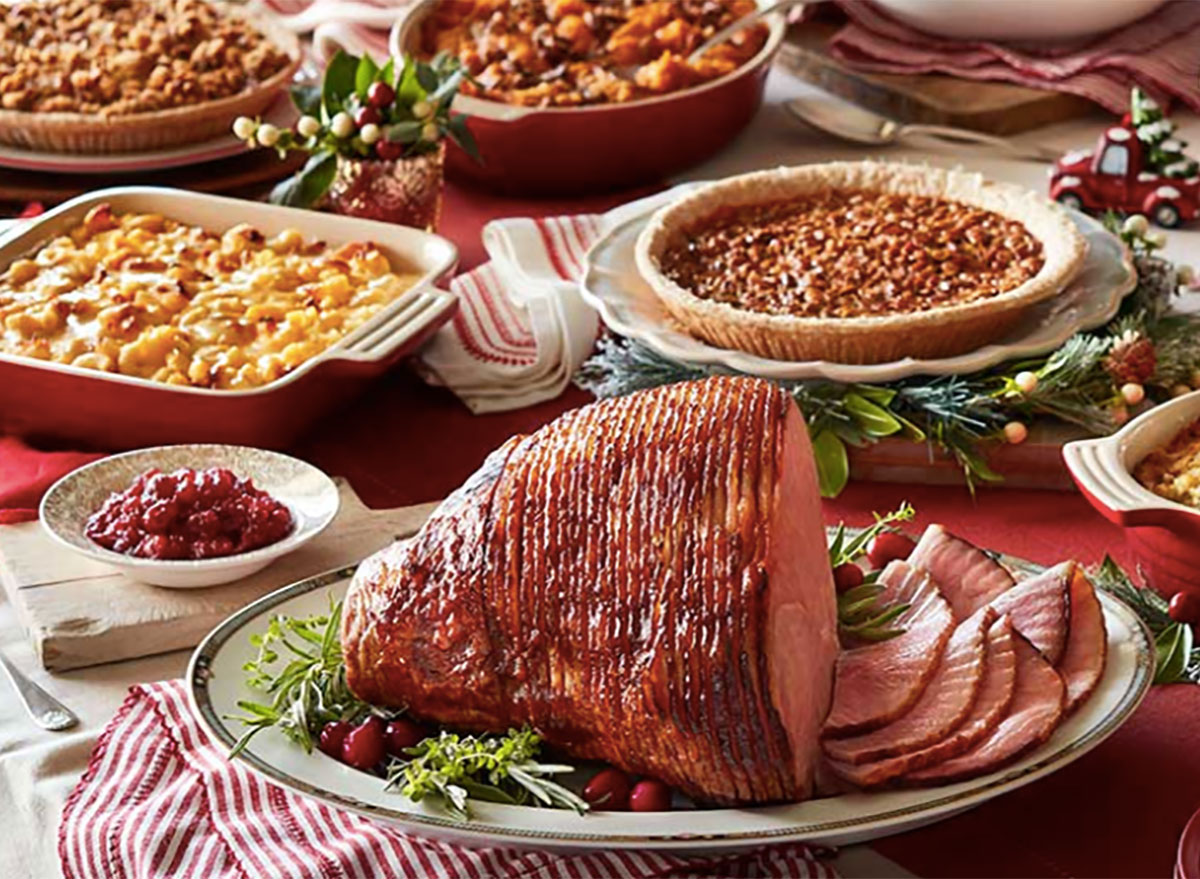 cracker barrel spiral ham with side dishes and pies