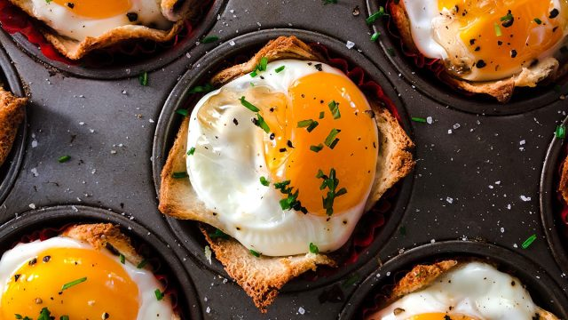 egg toast cups inside muffin tin