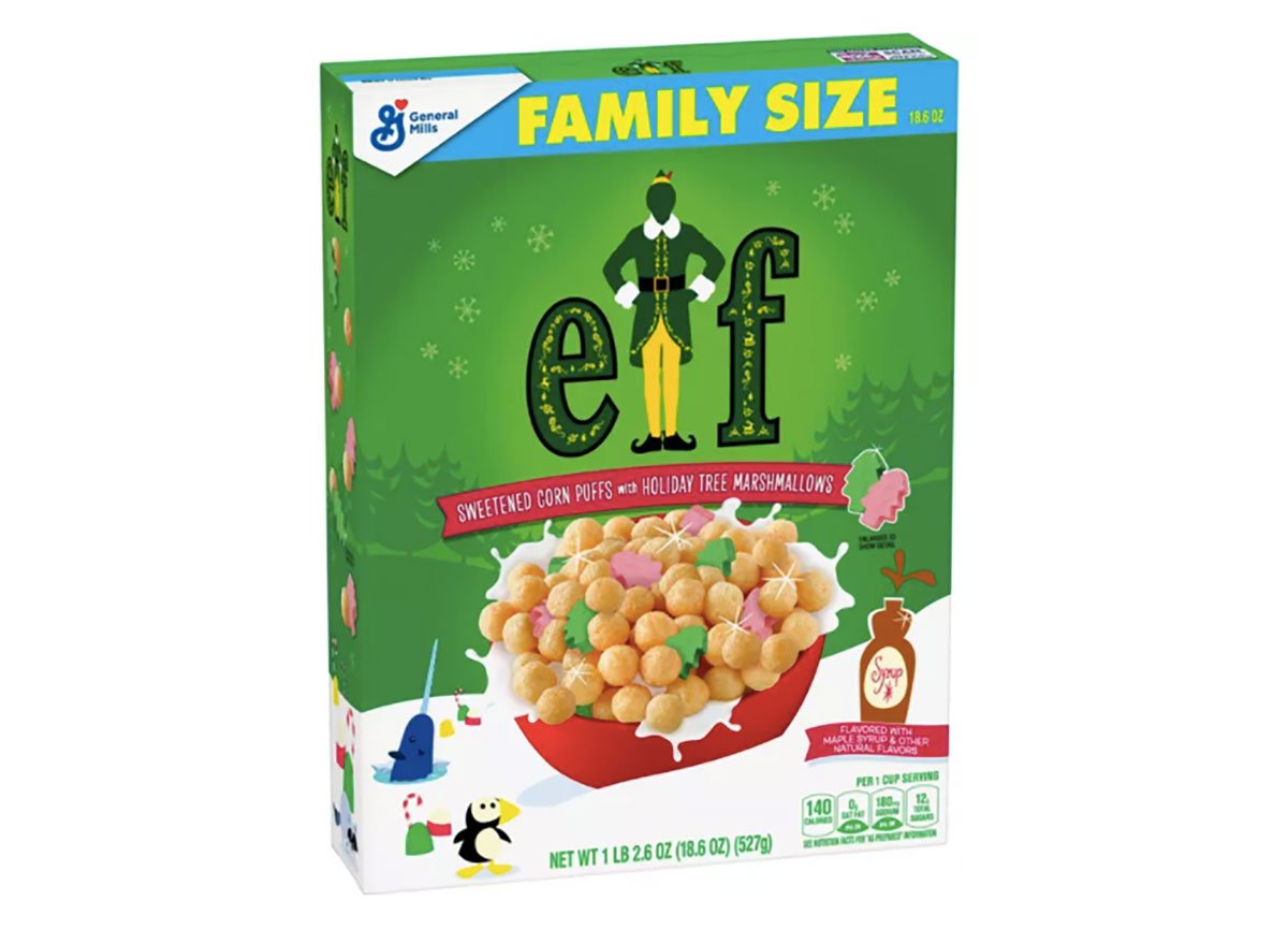 box of elf themed cereal