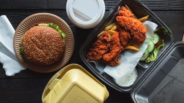 fast food in takeout containers