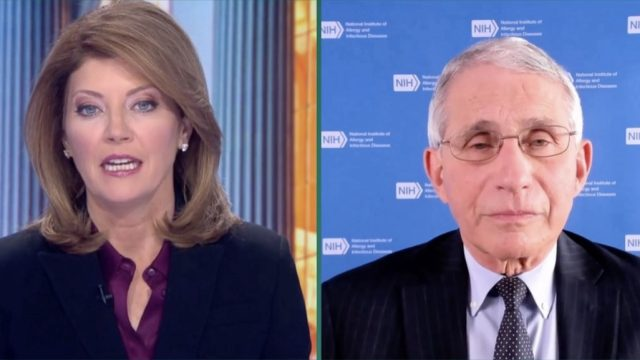 Dr. Anthony Fauci talking to Norah O'Donnell via Zoom video.