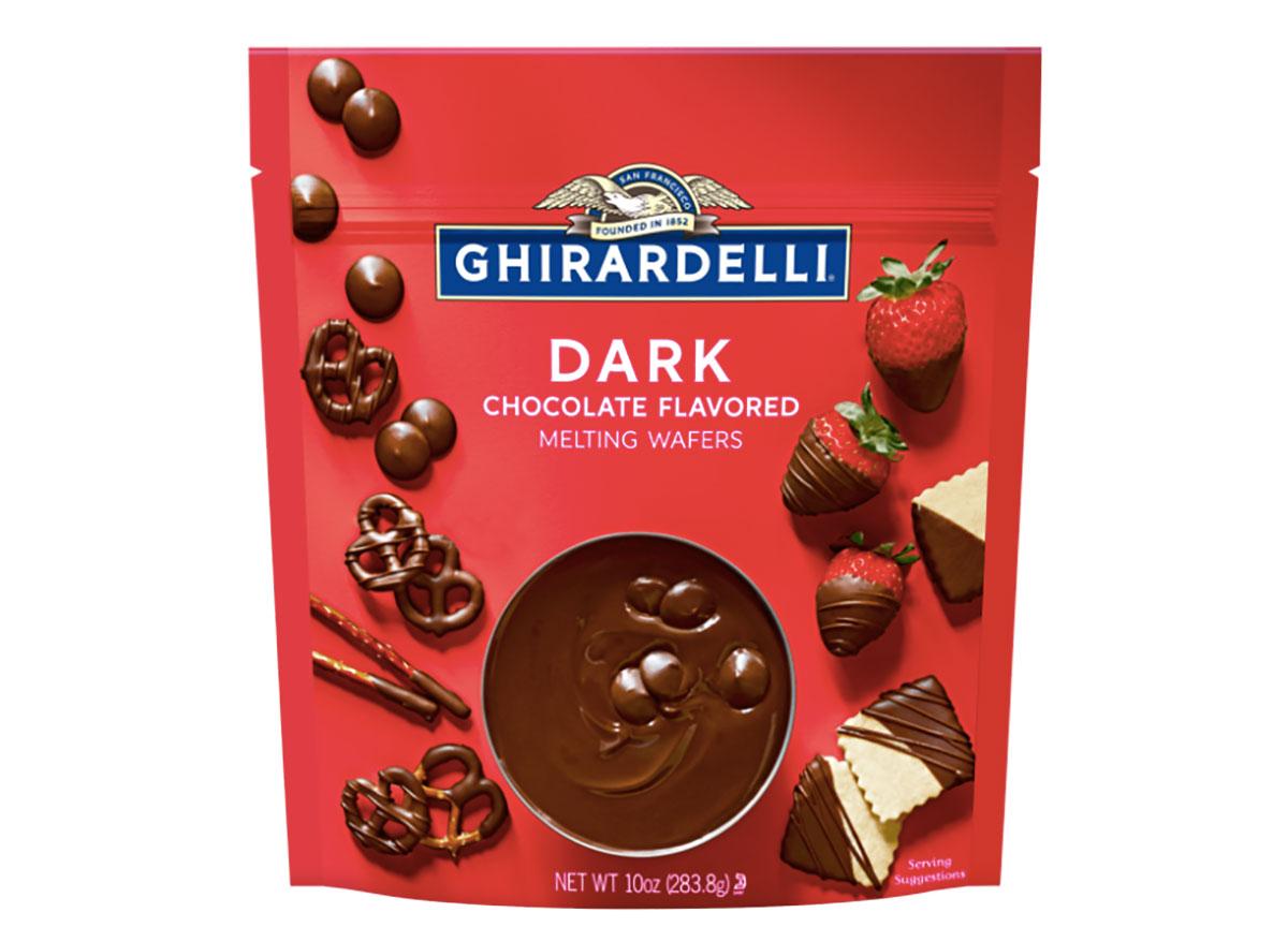 bag of ghirardelli dark chocolate melting wafers