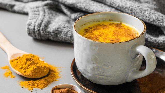 Golden milk turmeric latte cinnamon
