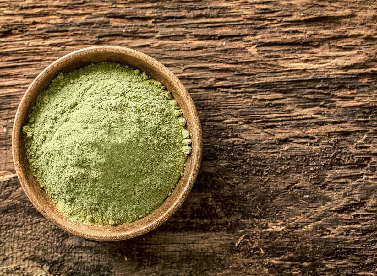 green powder in bowl