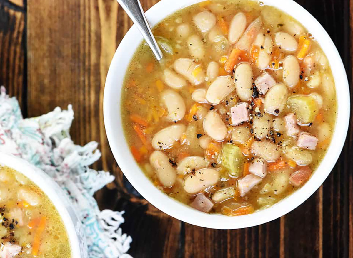 ham and bean soup in two bowls