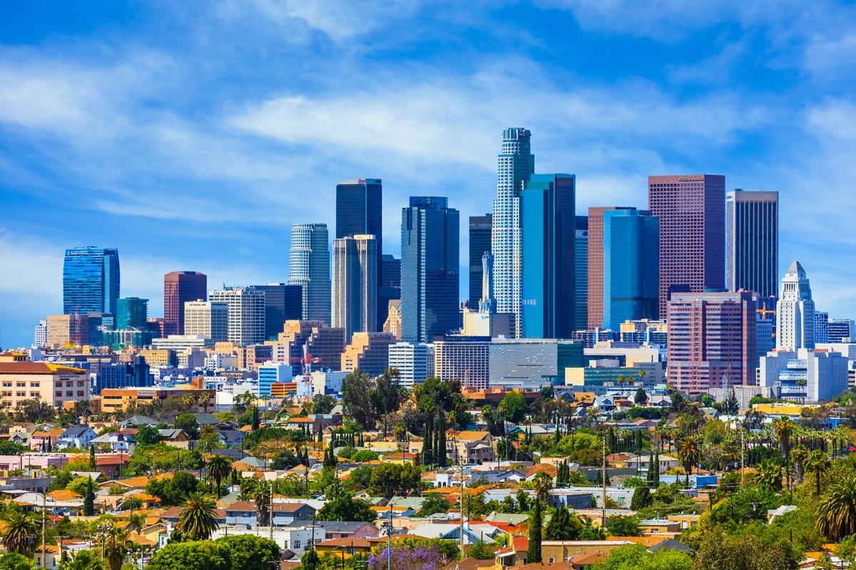 Skyscrapers of Los Angeles skyline,architecture,urban,cityscape,