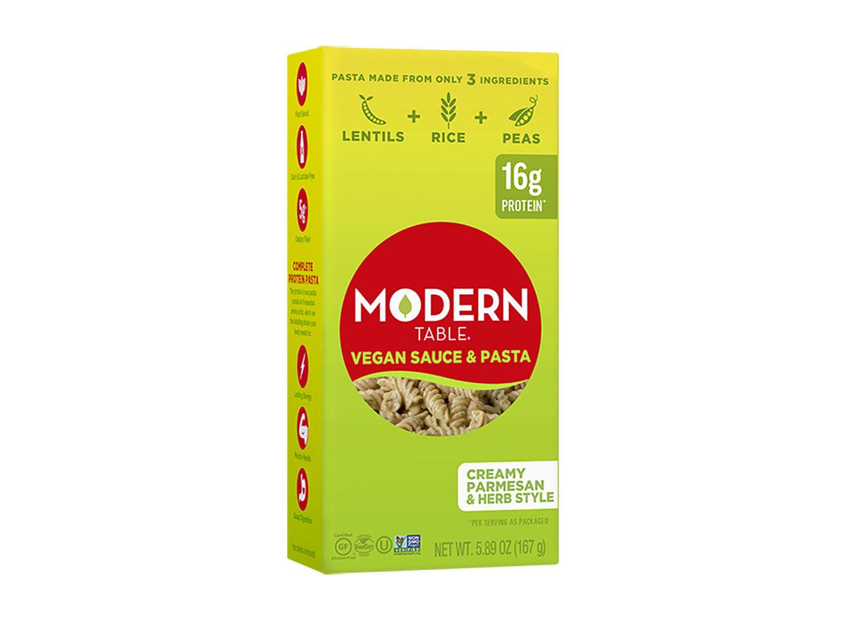 modern table creamy parmesan herb style pasta