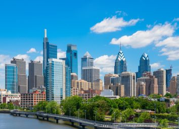 Philadelphia downtown skyline with blue sky and white cloud