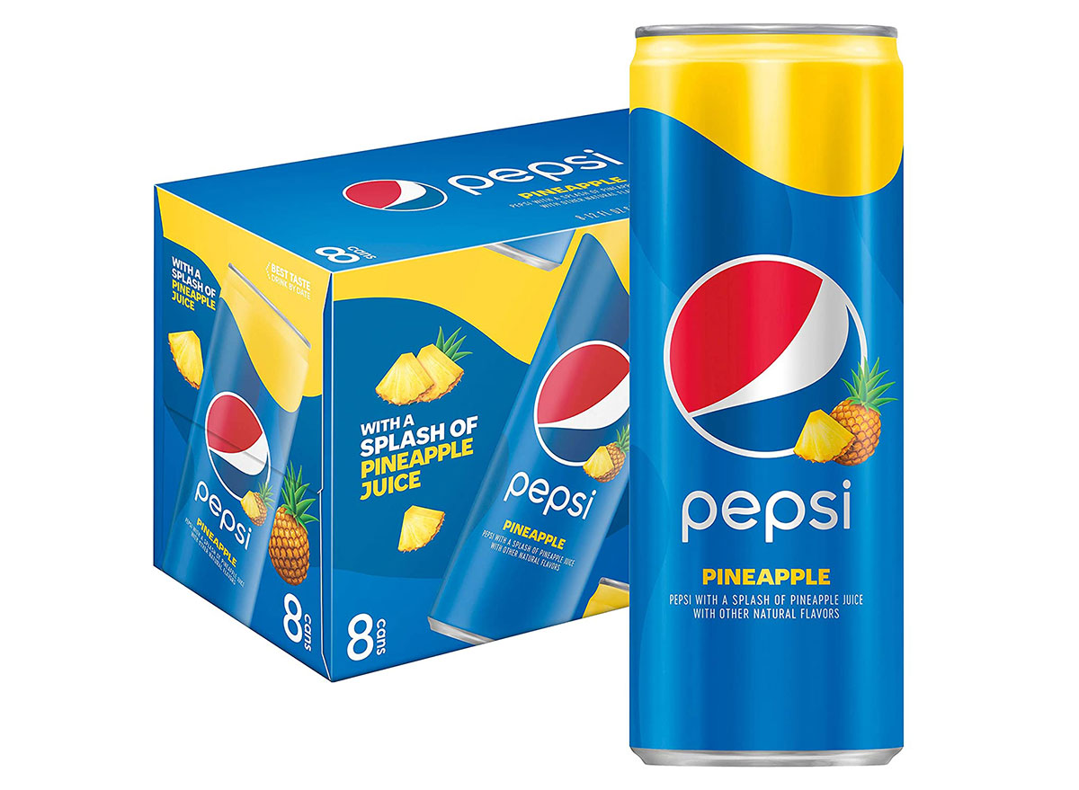 box of pineapple pepsi cans