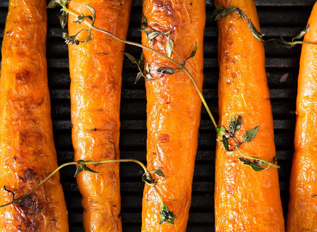 roast whole carrots closeup