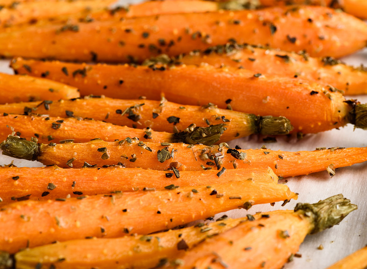 whole roasted carrots with herbs