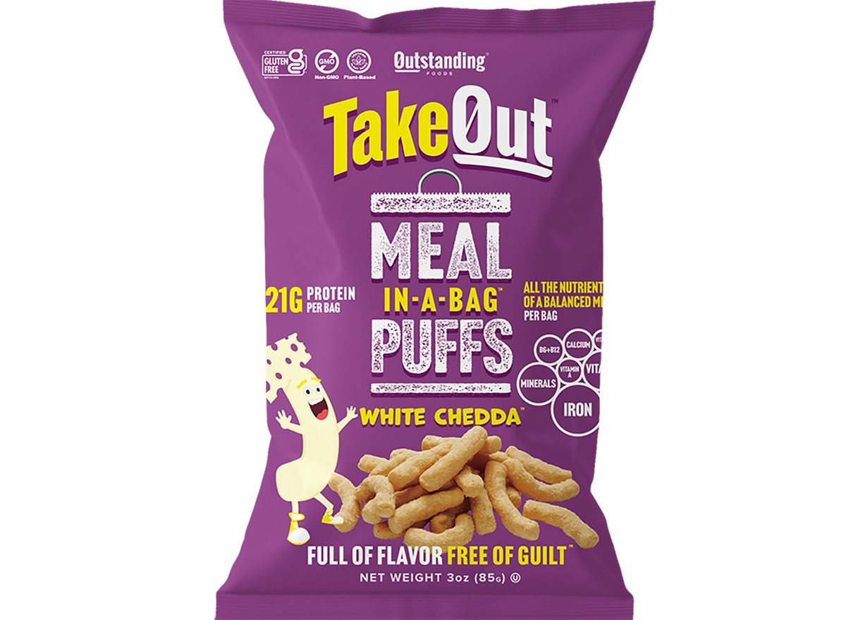 takeout meal in a bag puffs white chedda