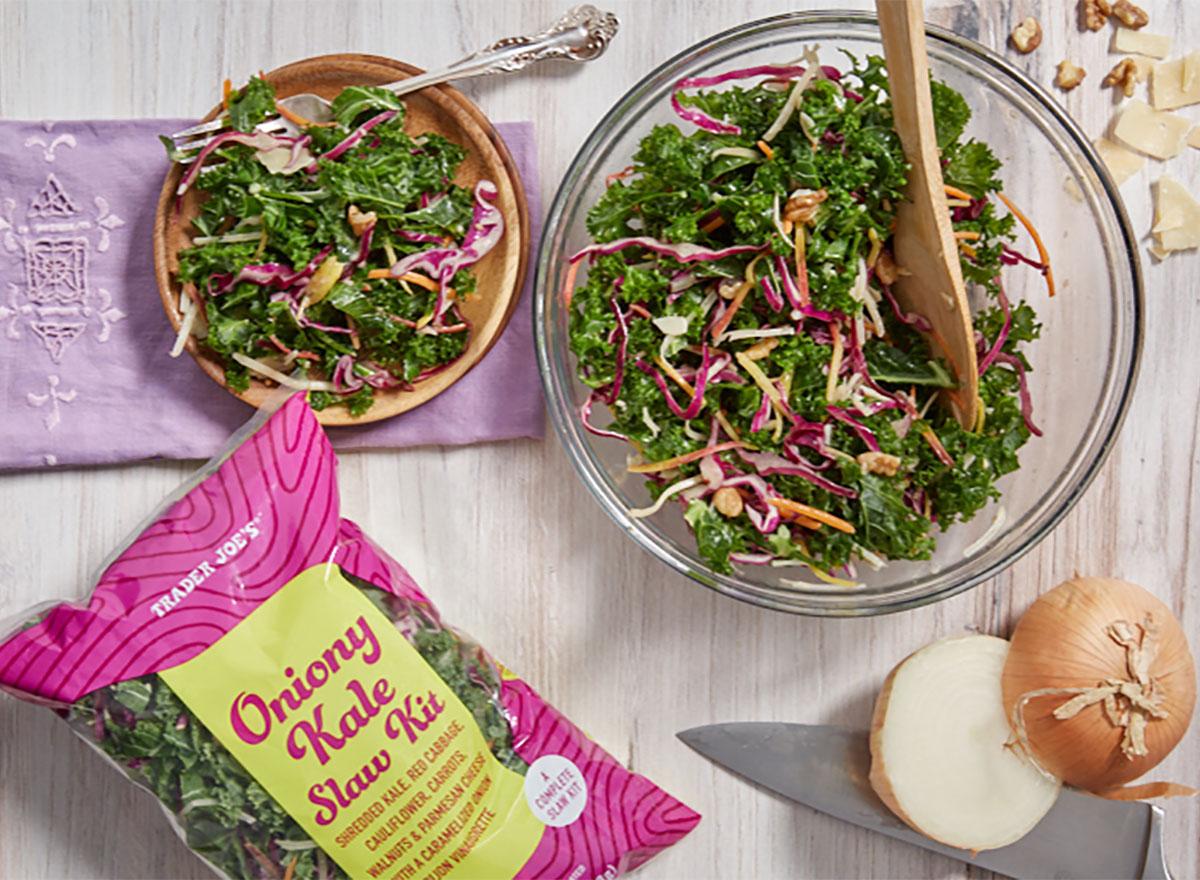 trader joes oniony kale slaw kit with bowl of salad