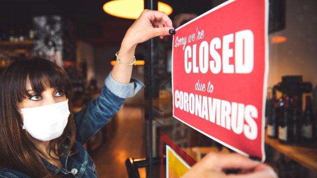 Small business closing sign due to Covid-19 coronavirus
