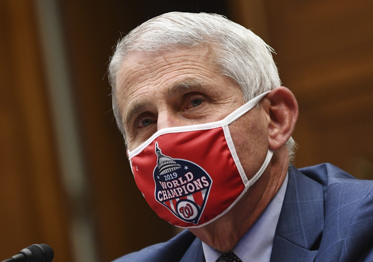 Doctor Anthony Fauci wearing face mask.