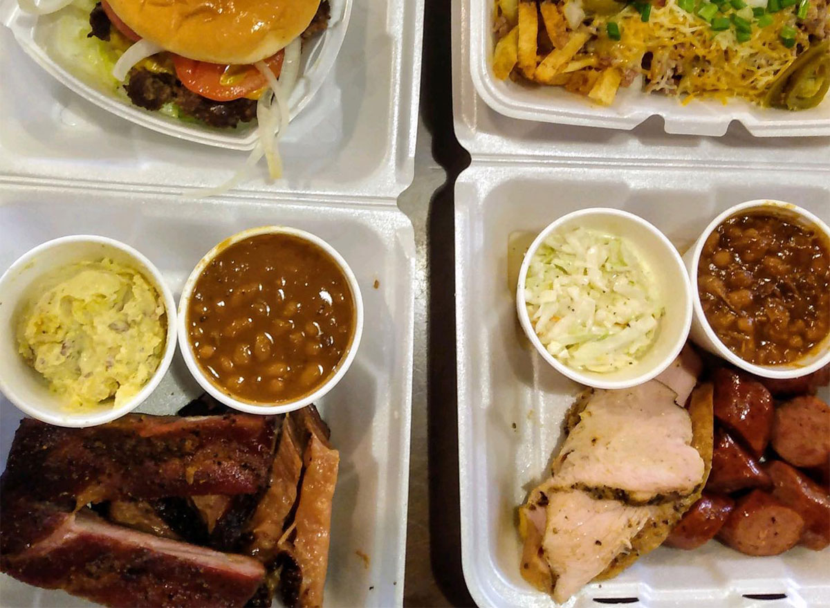 plates of barbecue with sides