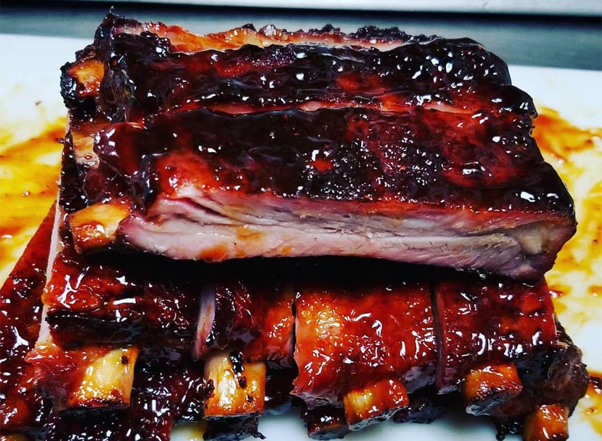 pile of bbq glazed ribs